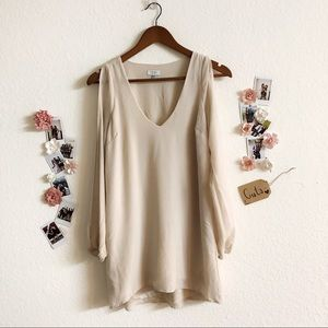 Nude Sleeves Cut-Out Dress